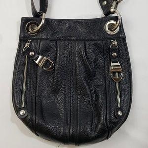 B. Makowsky Black Leather Crossbody Purse Bag